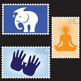 Vector illustration of a blanks post stamps