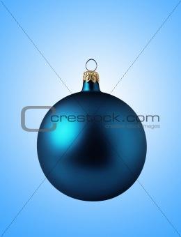 Blue christmas ball on blue background