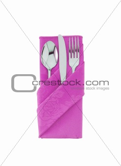 fork ,knife and spoon on pink cloth isolated on white background