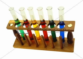 Various glass test tubes in holder isolated on the white backgro