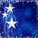 Silver Christmas stars on blue background (vector)
