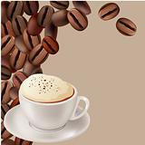 Coffee beans and cup of cappuccino