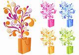 decorative shopping bag, vector