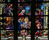 Stained glass window depicting the Nativity of Christ. This window is located in Saint James's Church (Swedish: Sankt Jacobs kyrka) in Stockholm, capital of Sweden. It was fabricated in 1893, as indicated in the corner (not on picture).