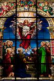 Beautiful stained glass window created by F. Zettler (1878-1911) at the German Church (St. Gertrude&#39;s church) in Gamla Stan in Stockholm. Motif deplicting the resurrection of Jesus, celebrated on Easter Sunday.