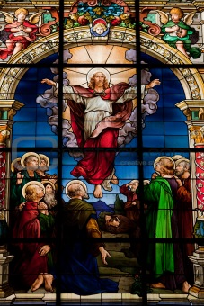 Beautiful stained glass window created by F. Zettler (1878-1911) at the German Church (St. Gertrude's church) in Gamla Stan in Stockholm. Motif deplicting the resurrection of Jesus, celebrated on Easter Sunday.