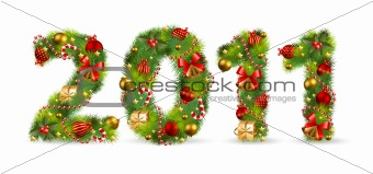 2011, vector christmas tree font