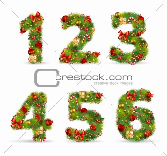 ABCDEF, vector christmas tree font