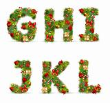 GHIJKL, vector christmas tree font