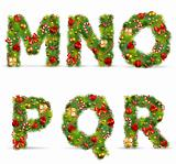 MNOPQR, vector christmas tree font