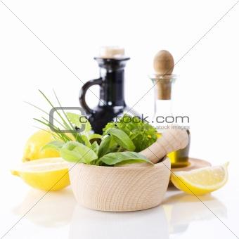 Olive oil, vinegar, Healing herbs and lemon