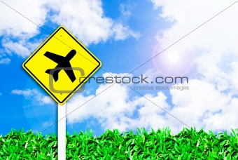 airplane airport sign on beautiful sky