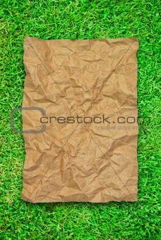 crumpled brown recycle paper on green grass field