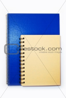 blue and yellow cover notebook isolated