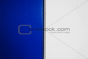 blank blue notebook open two page background