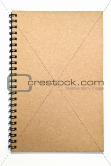Grunge brown cover notebook isolated on white background