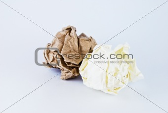 crumpled paper ball isolated