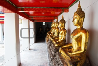 Row of Golden Buddha statue in Thailand Buddha Temple