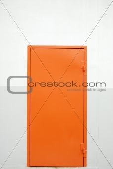 closed orange factory door