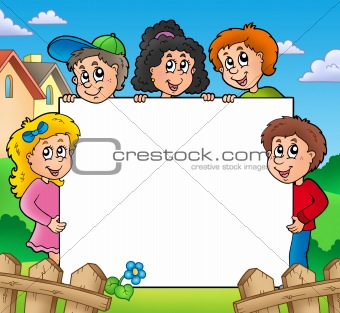 Blank frame with various kids