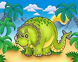 Cartoon triceratops in landscape