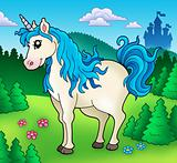 Cute unicorn in forest
