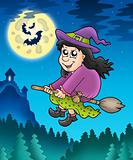 Cute witch on broom near castle
