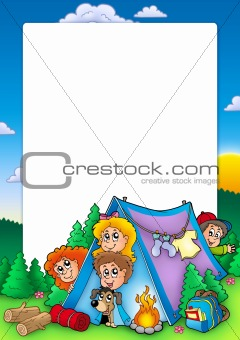 Frame with group of camping kids