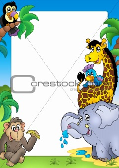Frame with happy African animals