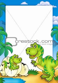 Frame with tyrannosaurus rex