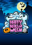 Happy Halloween sign with ghosts