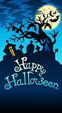 Happy Halloween sign with tree