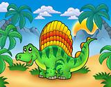 Small dinosaur in landscape