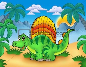 Small dinosaur in landscape
