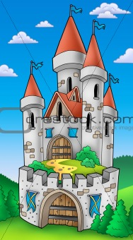 Tall castle with fortification