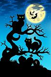 Two cats silhouette with full moon