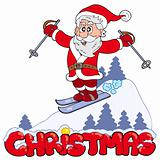Christmas sign with skiing Santa