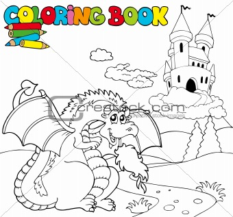 Coloring book with big dragon 1