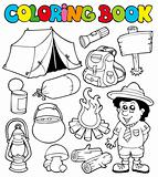 Coloring book with camping images