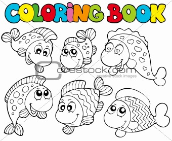 Coloring book with crazy fishes