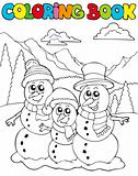 Coloring book with snowman family