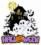 Halloween sign with three ghosts 1