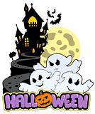 Halloween theme with three ghosts