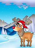 Christmas theme with cute reindeer