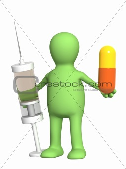 Puppet with pill and syringe