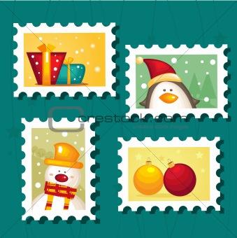 Set of Christmas Postage stamps