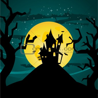 Halloween castle illustration