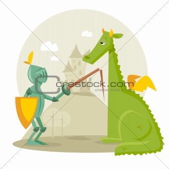 Cartoon knight with a dragon