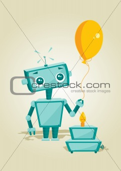 Cartoon robot with birthday cake