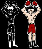 Boxer With Arms Raised Cartoon Character